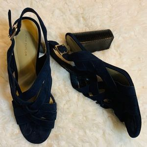 Ann Taylor navy blue suede strappy heels size 8